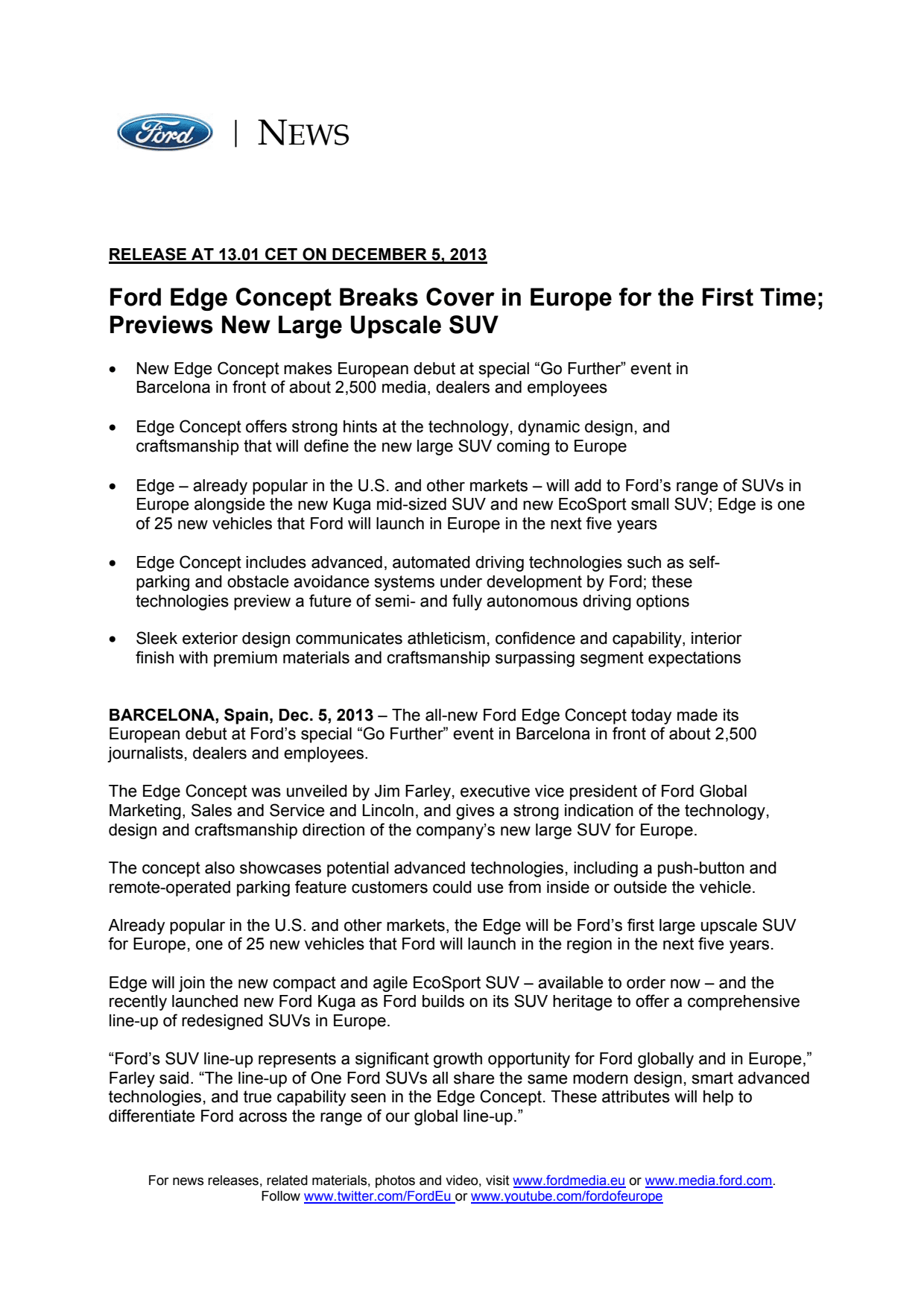 Ford edge international press release ford motor company Ford motor company press release