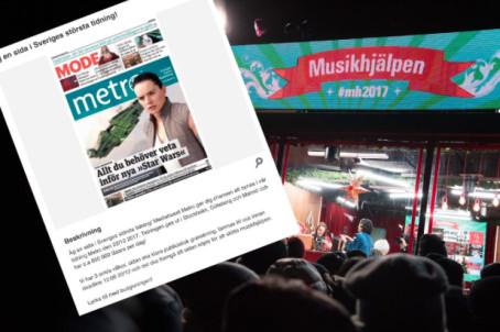 Metro auktionerar ut sida – för att stötta Musikhjälpen