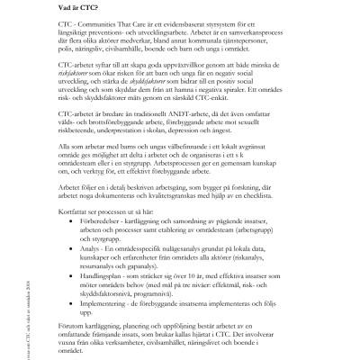 Frågor och svar om CTC och val av områden 2018