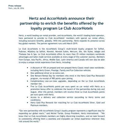 AccorHotels and Hertz partnership