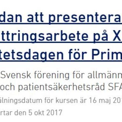 Kom och möt oss på XIV:e Nationella Kvalitetsdagen för Primärvården, Svenska Läkaresällskapet i Stockholm