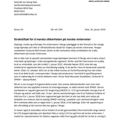 Brev til samferdselsminister Jon Georg Dale om vinterdekkrav og kontroller