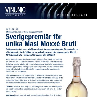Sverigepremiär för Masi Moxxé Brut
