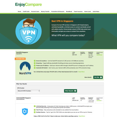 EnjoyCompare Launches VPN Comparison in Singapore
