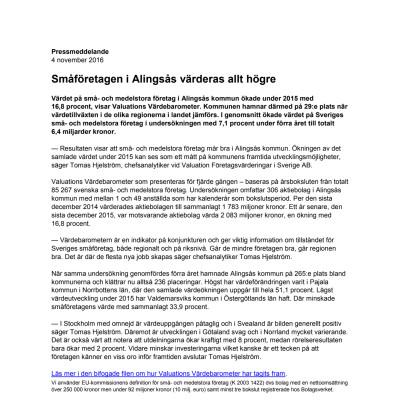 Värdebarometern 2015 Alingsås kommun