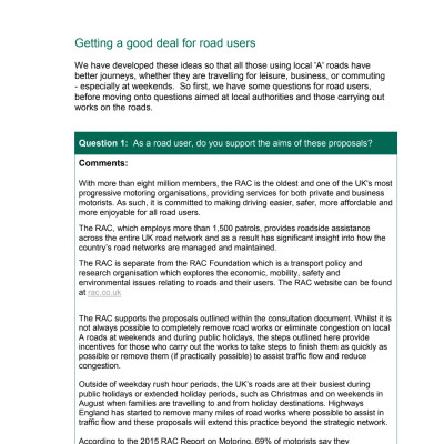 RAC response to DfT consultation on reducing roadwork disruption on local 'A' roads
