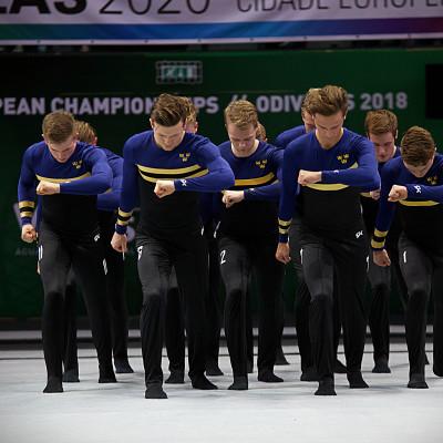 Herrarna i trupplandslaget i gymnastik vinner silver i Portugal