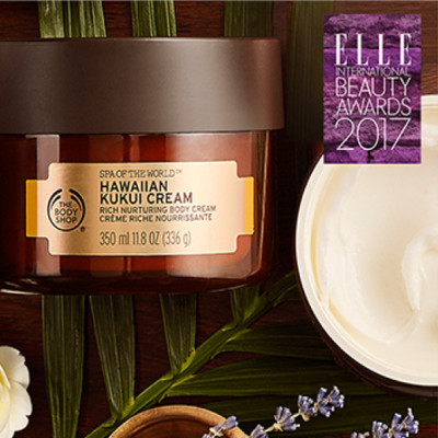 """The Body Shop Hawaiian Kukui Cream voitti Elle International Beauty Awards -palkinnon kategoriassa """"Vuoden Vartalovoide"""""""