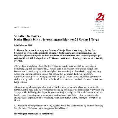 Vi satser fremover  - Katja Hinsch blir ny  forretningsutvikler  hos  21 Grams i Norge