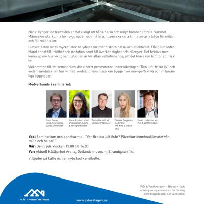 Inbjudan Plåt & Ventföretagens seminarium i Almedalen