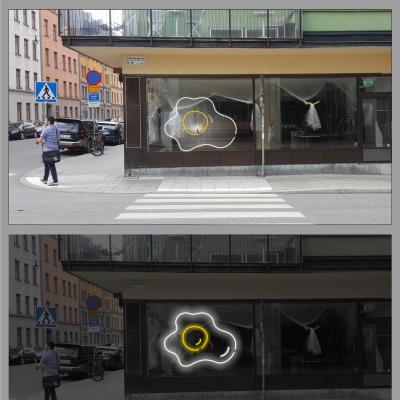 Greasy Spoon öppnar nytt café, stor konturformad neonskylt i ett fönster