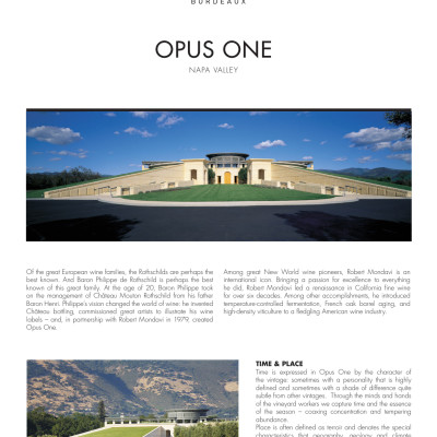 Opus One  with description of Opus One 2015