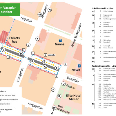 Karta hållplatser Vasaplan från 2 oktober