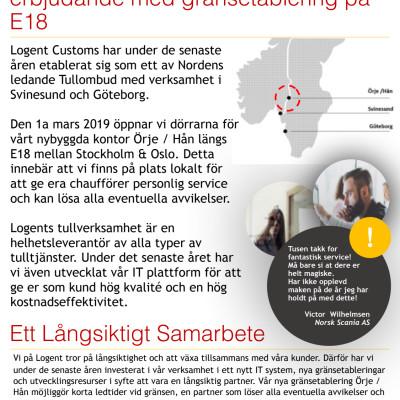 Logent Customs utökar sitt erbjudande med gränsetablering på E18