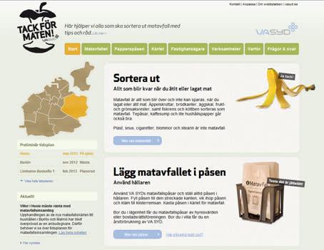 """VA SYD lanserar ny webbplats - """"Tack för maten"""""""