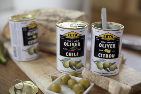 Zeta lanserar fem sorters fyllda oliver - helt utan konserveringsmedel och smakförstärkare