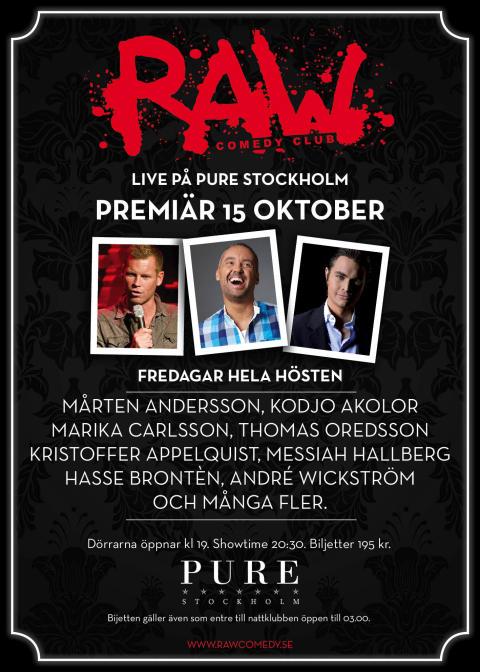 RAW Comedy Club gör klubb-comeback på PURE Stockholm