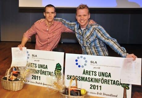 Årets Unga Skogsmaskinföretagare heter Fredrik Gunnarsson och Erik Strandlund