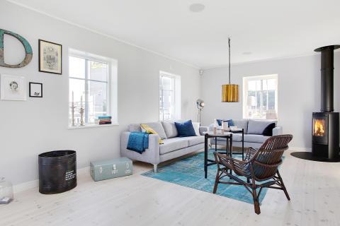 Vardagsrummet i A-hus nya villa Anneberg
