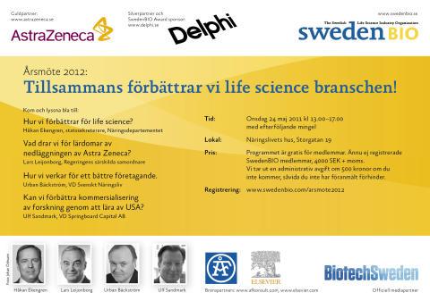 Hur vi förbättrar life science branschen! Årsmöte och efterföljande konferens arrangerade av SwedenBIO