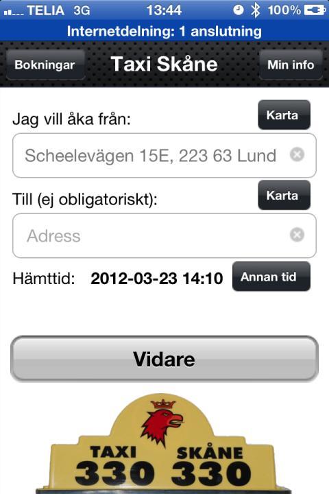 Taxi Skåne-appen, skärmdump 2