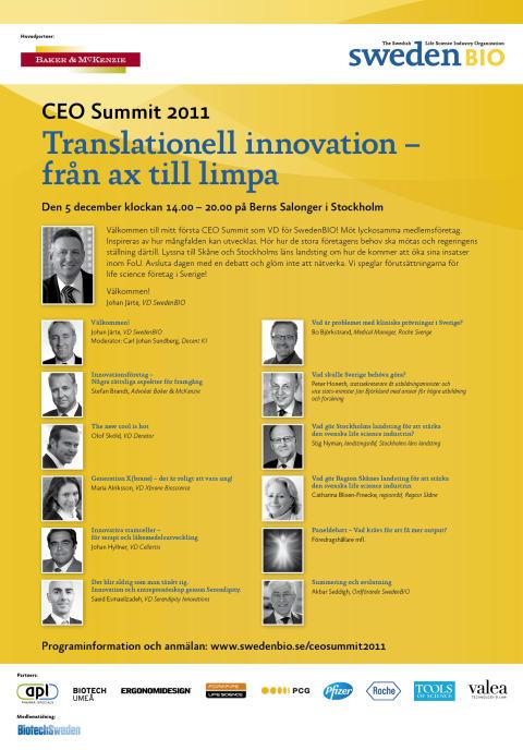 SwedenBIO bjuder in till CEO Summit 2011 på temat Translationell innovation – från ax till limpa
