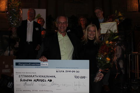 Svenska Aerogel received the Cleantech Company of the Year Award at Stockholm Cleantech Venture Day 2010