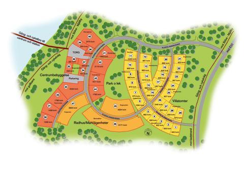 Karta över Ljungavikens bostadsområde etapp 1