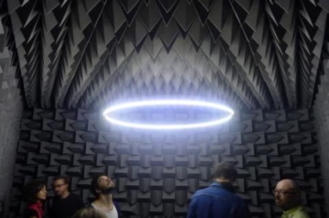 Haroon Mirza Installation view, The National Apavilion of Then and Now, 2011. Anechoic chamber, LEDs, amp, speakers, electronic circuit.
