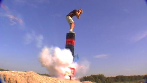 Stunt with milkcrates