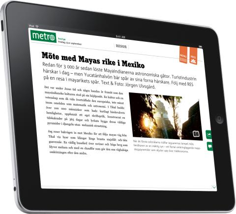 Metro's iPad-app hits first place twice