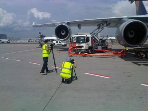 Up close and personal - at a safe distance - with ground support equipment at Frankfurt Airport