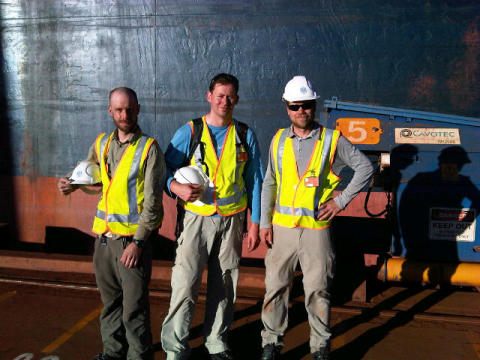 The intrepid (and dusty) Cavotec film crew after a day filming MoorMaster™ at Port Hedland. #Cavotecfilm