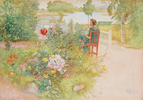 """Carl Larsson (1853-1919)        """"Sommar i Sundborn"""" / """"Flicka i trädgård"""""""