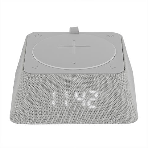 Väckarklocka med radio & portabel Qi-laddare