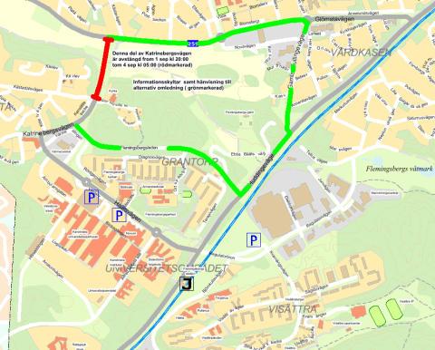 Katrinebergsvägen i Huddinge avstängd 1-4 september