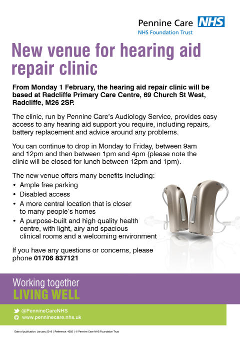 NHS news - New premises for hearing aid drop-in clinic