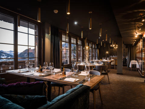 Restaurant at HUUS Hotel, Gstaad, designed by Stylt Trampoli