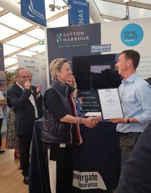 Image - Karpaz Gate Marina - Liza Singer, Managing Director of Karpaz Gate Marina, receives the award for TYHA International Marina of the Year Runner-up 2019 at Southampton Boat Show