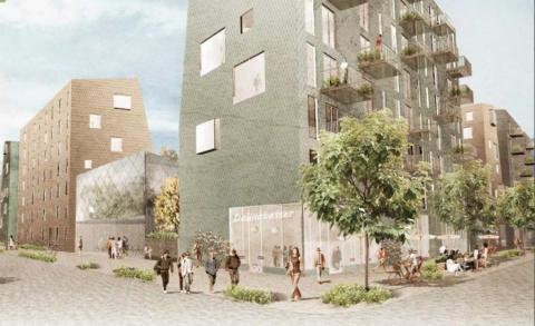 Skissbild, Lindholmshamnen, Riksbyggen