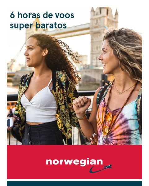 Nesta quarta-feira, para o Dia do Amigo: a Norwegian oferecerá descontos de até 10% para seus voos para Londres