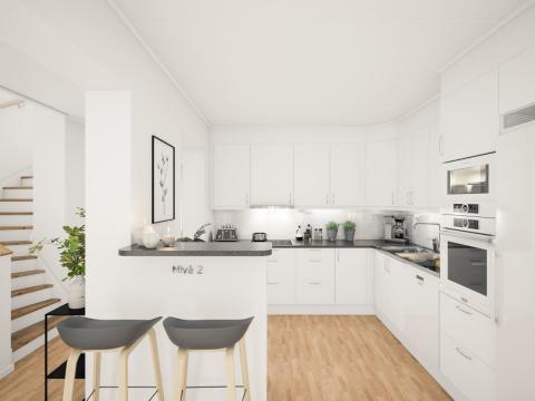 Brf Sundby Äng - 3D-bild av kök/trappa