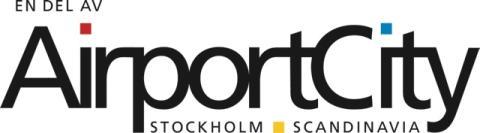 "Airport City Stockholms ""En del av Airport City Stockholm"" logotyp"