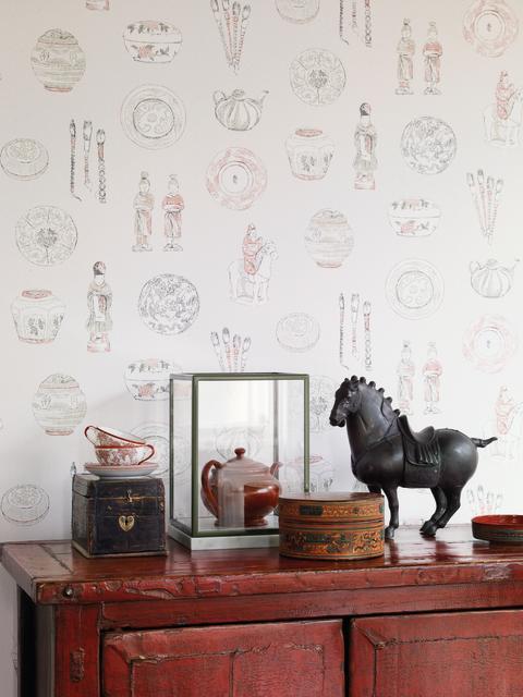 Detaljbild på mönstret Calle från Sandbergs kollektion Götheborg