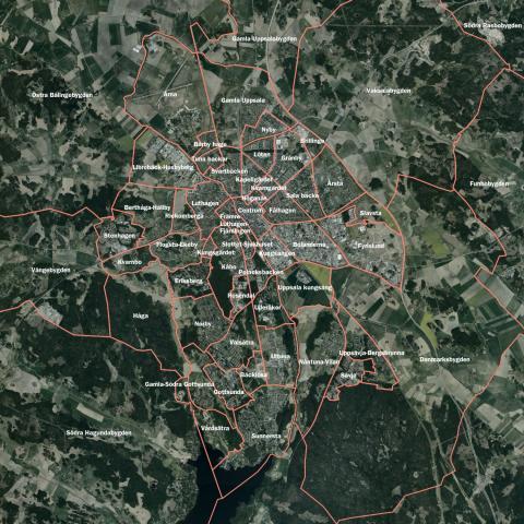 Karta över stadsdelsindelning (med text)