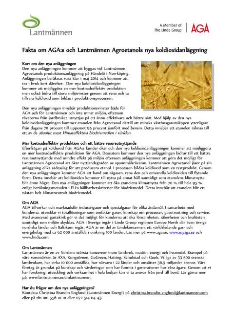 Faktablad AGA & Lantmännen Agroetanols nya koldioxidanläggning