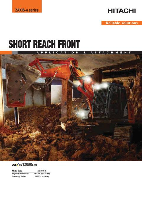 Broschyr  Delvator Hitachi ZX135US-6 SRF (Short Reach Front)