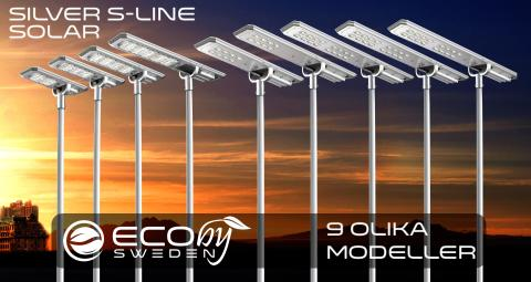 9 olika modeller solcellsarmaturer - Solar Alas och Silver S-line från Eco by Sweden