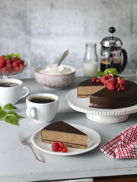 Gevalia Cappuccinomoussetårta - serveringsbild