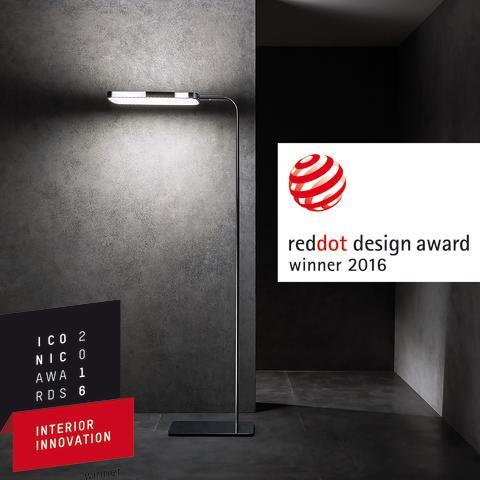 Stålampen PRANA+ fra ESYLUX vinner prisene Red Dot Award og A'Design Award
